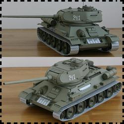 苏联T-34中型坦克 纸模型 坦克世界 1:25 T-34/85 modelik版 手工