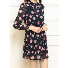 Melting of new fund of 2015 autumn outfit agaric around collar floral printed chiffon women long sleeve package mail in the summer of cultivate one's morality dress