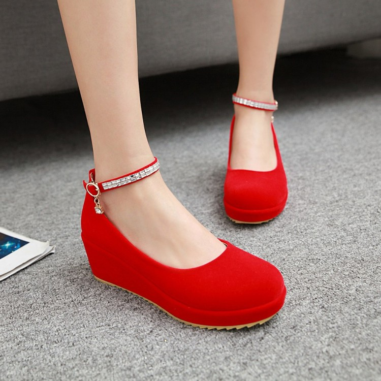 Spring 2017 red wedding shoes slope heel single shoes thick sole waterproof platform bride shoes muffin shoes students medium heel womens shoes