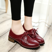2016 spring new lace round the UK College of smooth low heel shoes casual shoes women's shoes at the end of the tide