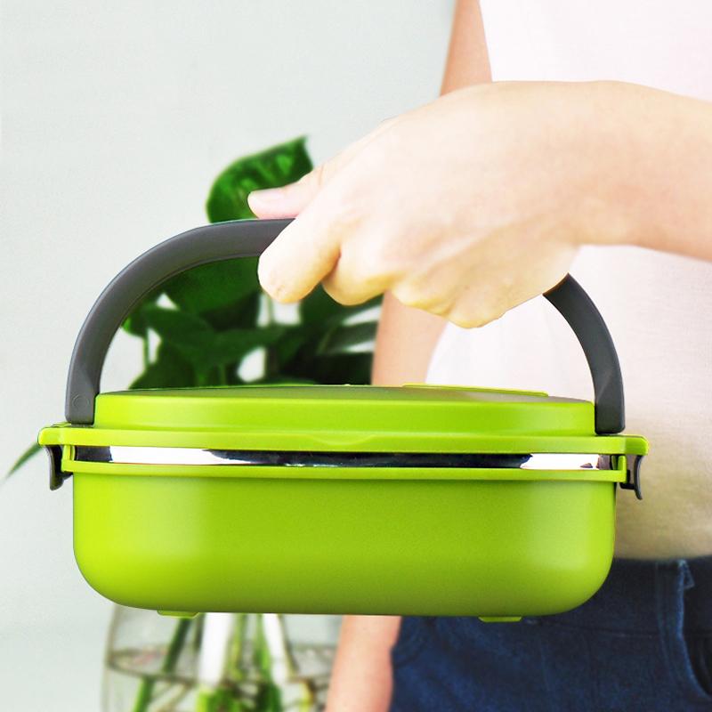 兒童保溫飯盒2層不鏽鋼便攜方形女雙層便當盒可愛學生手提包郵