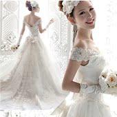 新款韩式修身显瘦深v领一字肩绑带拖尾公主新娘蕾丝席地婚纱礼服