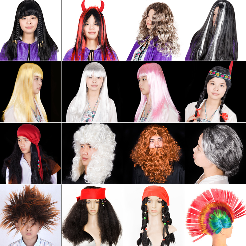 Funny costume party Cosplay cockscomb head funny pirate show props headgear Party Wig