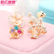 Niang Niang four-leaf flower bow Crystal clasp, pink suit lapel collar brooches, scarf collar pin brooch