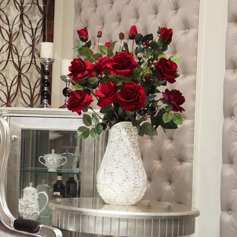 絹花絨布仿真花手感香水玫瑰花假花裝飾花客廳家居擺設花卉 大朵