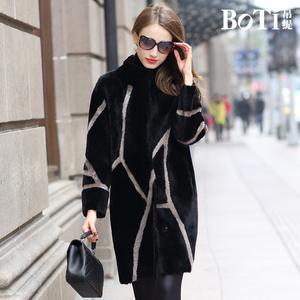 帛缇欧洲流行时尚高端海宁皮草澳洲羊皮毛一体外套女大衣中长款58