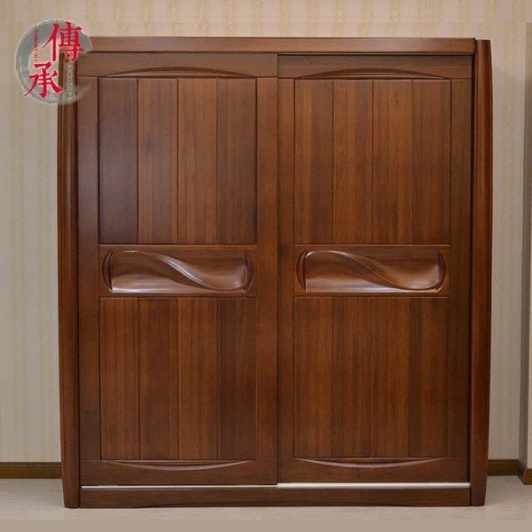 金丝檀木实木衣柜两门全纯实木简约2米m中式推拉移门PK胡桃木榆木