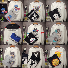 Qiu dong season Japanese fashion cotton leisure small pure and fresh and printed cartoon lovers in han edition men's and women's fleece jacket