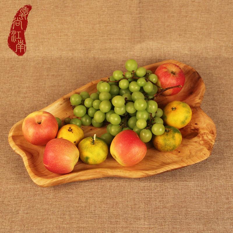 爱尚江南实木果盘复古客厅水果盘木制大号盘子木托盘糖果盘茶盘