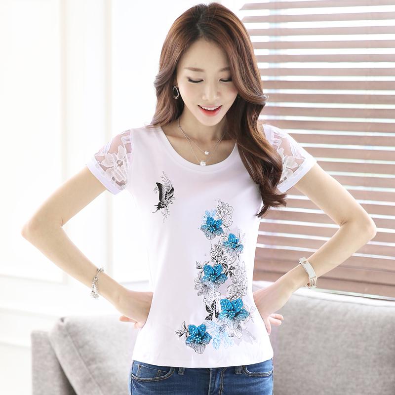 短袖女t恤女夏季韩版修身通勤蕾丝打底衫女半袖纯白色纯棉体恤女