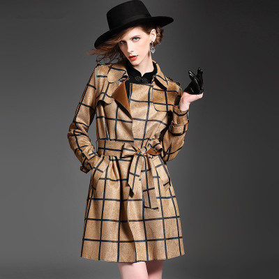 The new autumn 2015 deer velvet coat Europe and the United States of big shop sign lapel long sleeves, plaid female show thin waist, cultivate one's morality