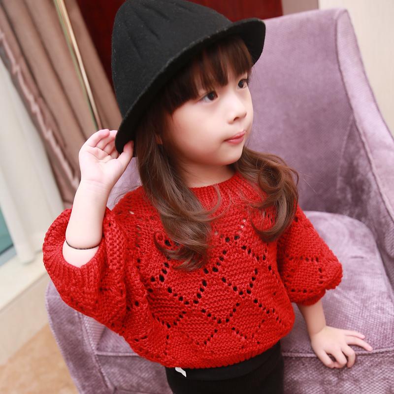 S 2016 лодка шеи ребенка детей корейской версии Детская мода свитер свободные девушки битой рукава пуловера