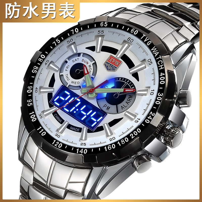 Mens watch quartz watch waterproof night light steel band waterproof Korean version stainless steel with disc leisure LED Night Light Watch