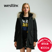 Westlink/West 2015 winter new style women's solid color long heavy hair in thickened collar Hooded down jacket
