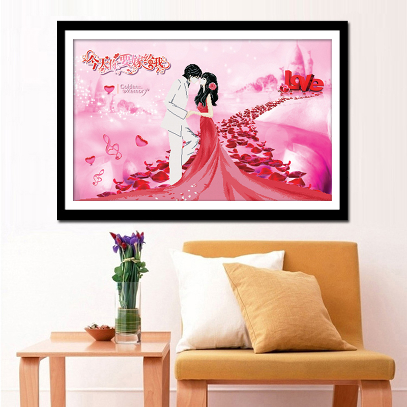 Diamond embroidery diamond painting square diamond crystal round diamond full Diamond Cross Stitch romantic love today you will marry my bedroom