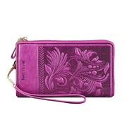 Beautiful Dragon original folk style high grade top layer leather purse leather ladies clutch bag embossed bag
