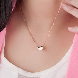 Rose gold color gold necklace jewelry female clavicle chain classic fashion heart shaped heart shaped peach Heart plated 18k
