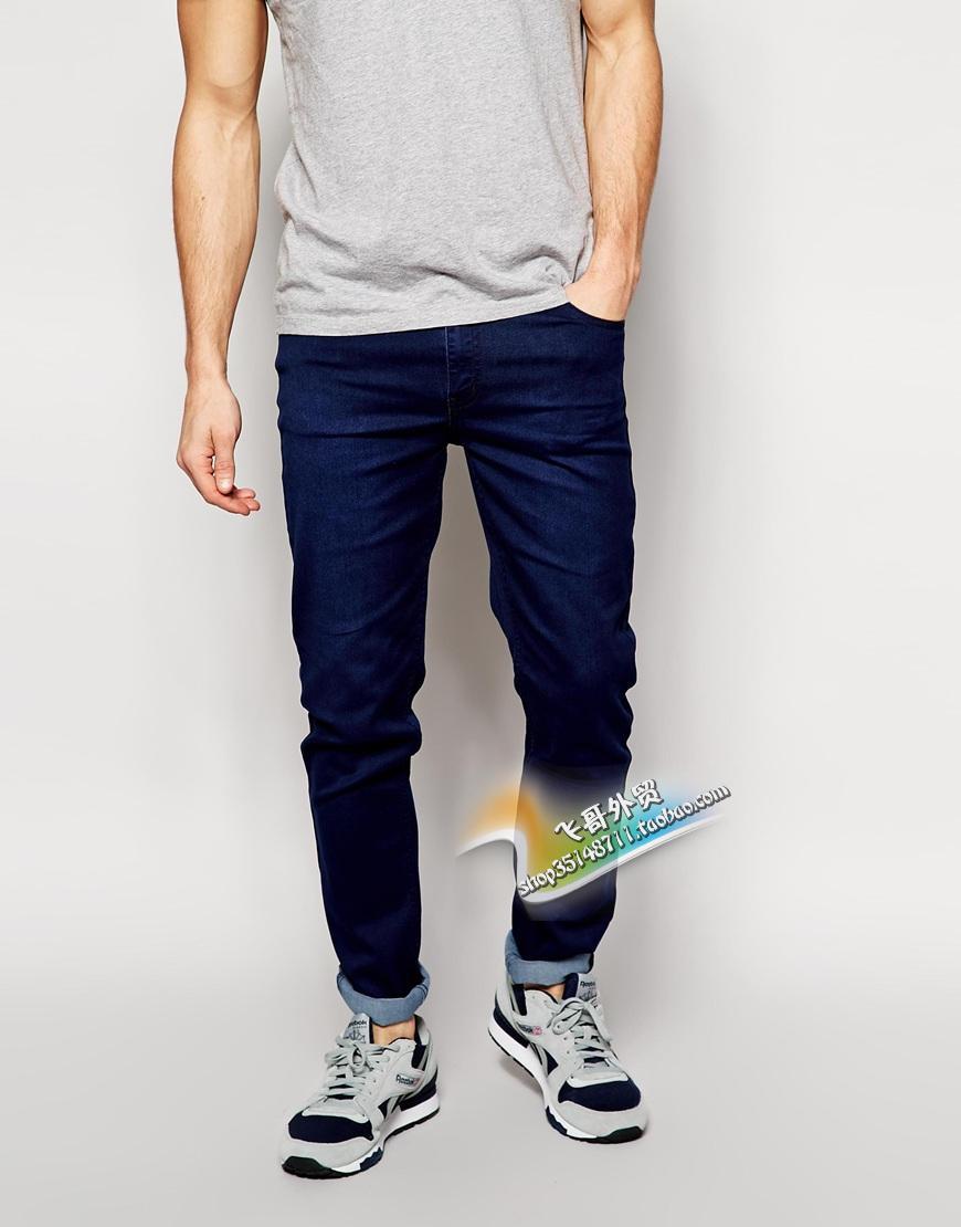 Шведская уличной моды см дешевые осенью понедельник, темно синий тощий растянуть карандаш ноги джинсы брюки