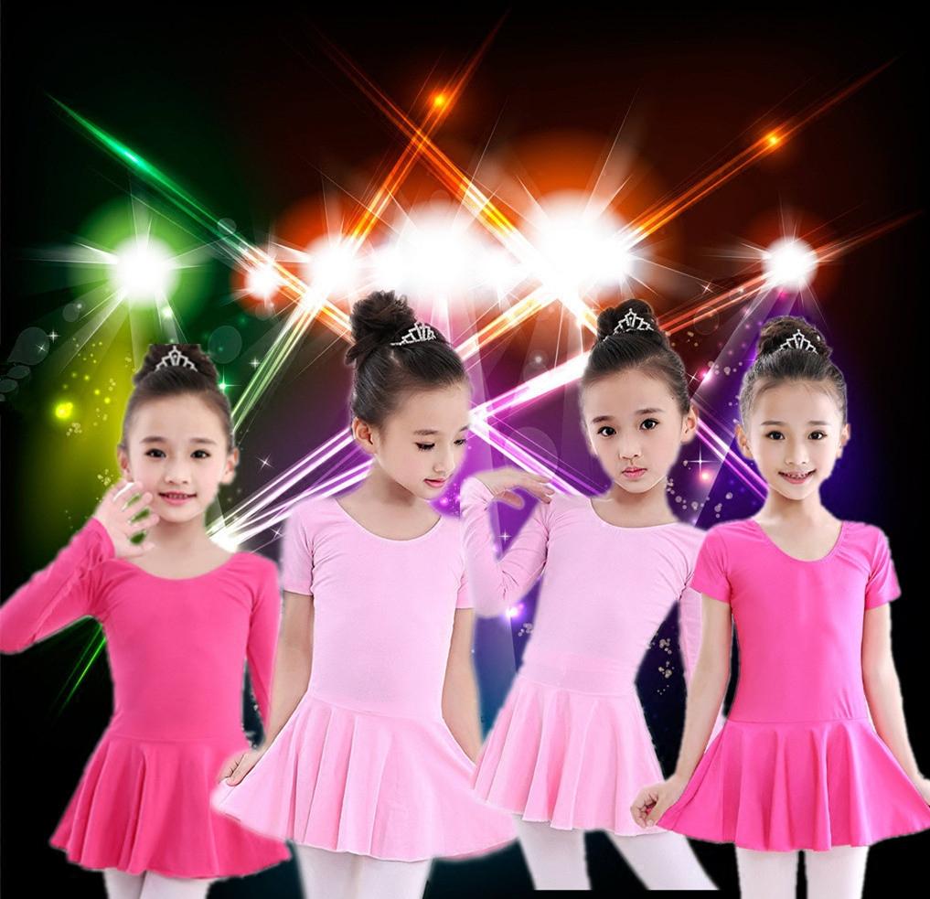 少儿舞蹈练功服短袖女童拉丁练功服芭蕾舞体操跳舞衣女舞蹈练功裙