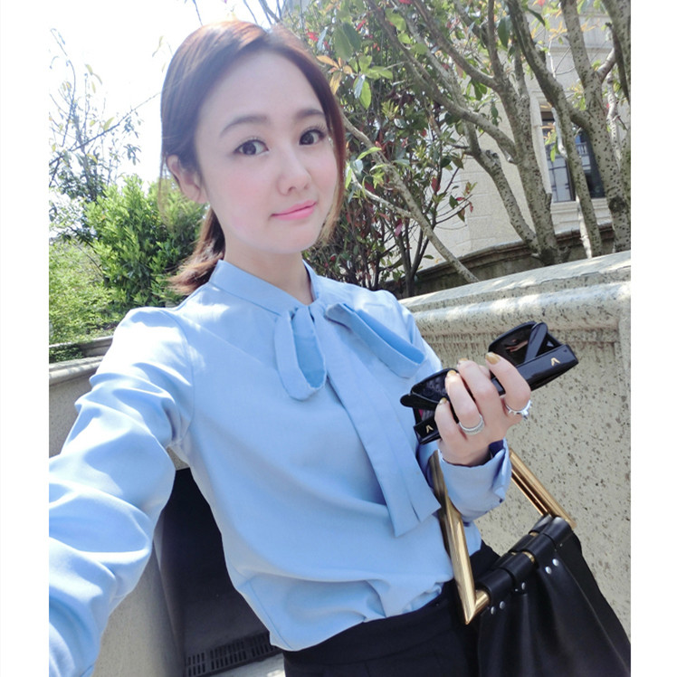 Stars same bow tie versatile professional casual long sleeve shirt womens spring and summer new bottoming shirt with Ribbon Shirt
