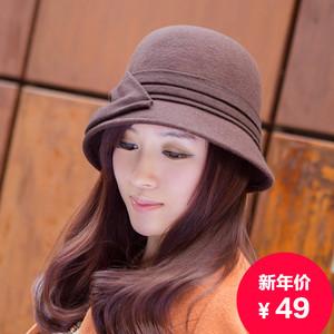春天秋季蝴蝶结毡帽盆帽
