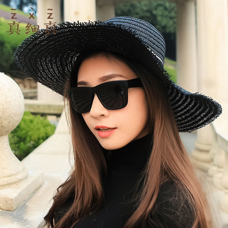 Really thin really sunshade hat female sunscreen European and American letters big along straw hat Summer Beach Hat travel