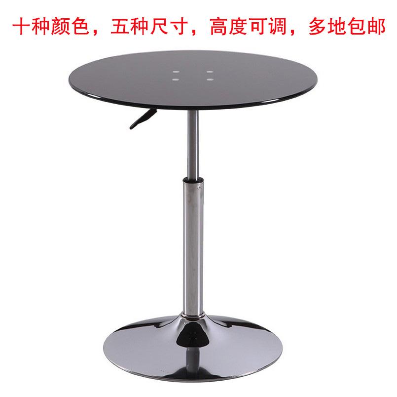简约黑色可升降钢化玻璃小圆桌接待桌洽谈桌茶几餐桌展会桌会谈桌