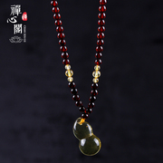 Zen Pavilion designers custom natural blood Cooper Cooper + gold Rainbow Jin Po gourd pendant necklace daughter jewelry