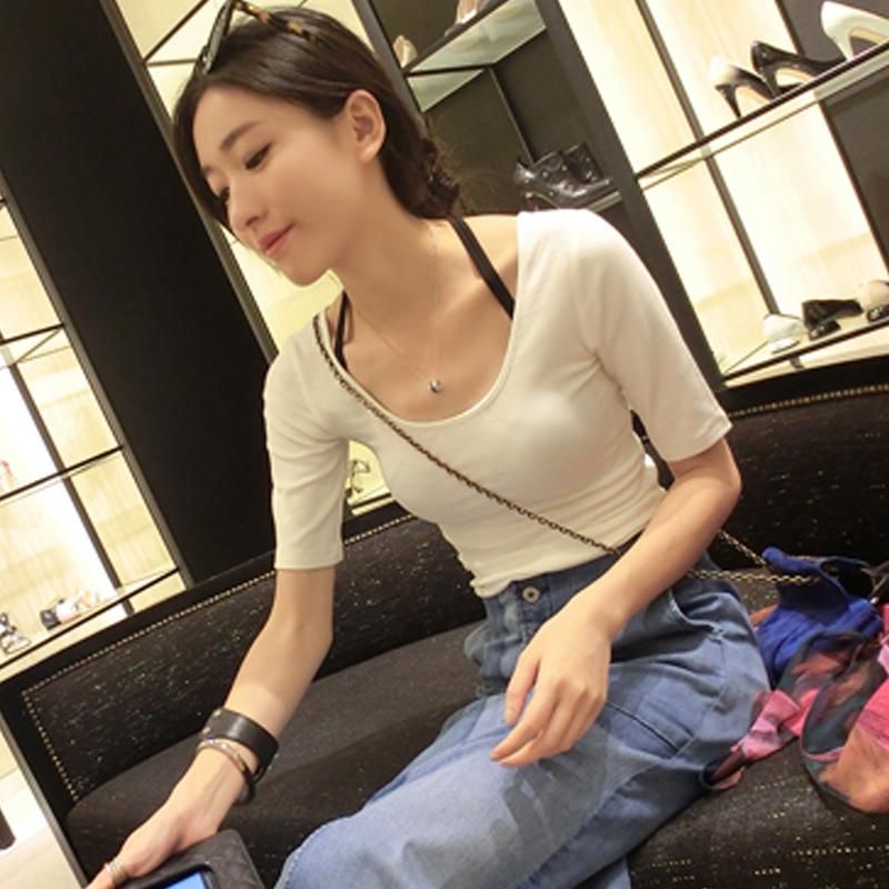 秋装t恤女2018新款白色中袖韩版秋季上衣百搭纯棉紧身长袖打底衫