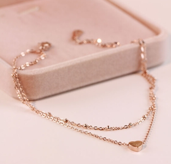 Japanese and Korean version simple temperament versatile double layer love 18k rose gold foot chain womens titanium steel accessories do not fade
