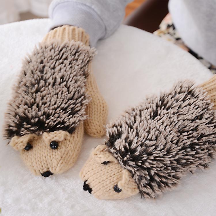 New plush bag finger mittens female winter student wool knitting Korean cute cartoon thickened warmth