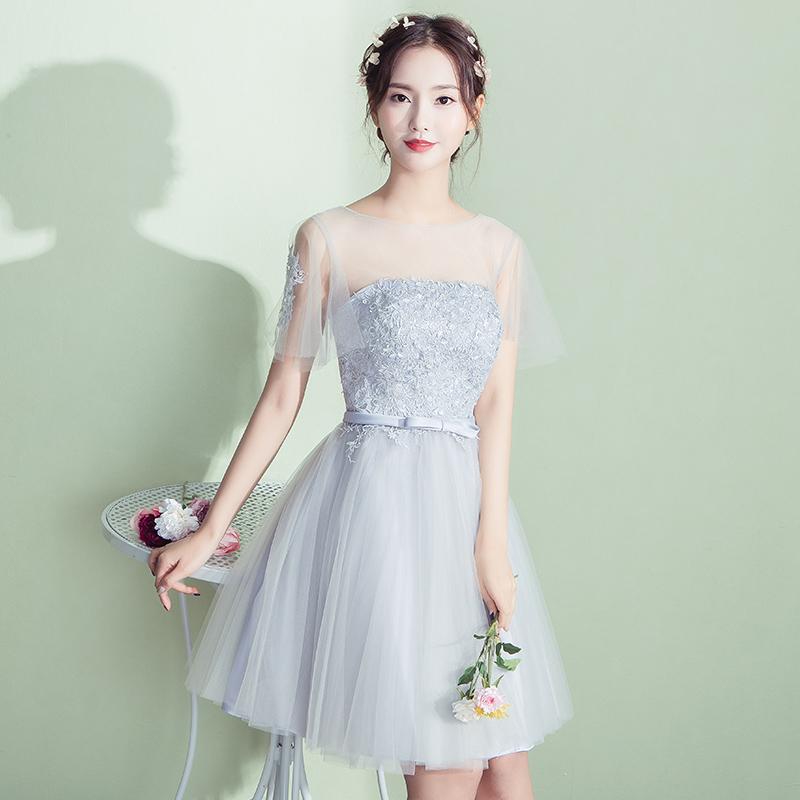 伴娘服短款2017 夏韓式姐妹裙灰色伴娘團禮服修身畢業晚禮服女
