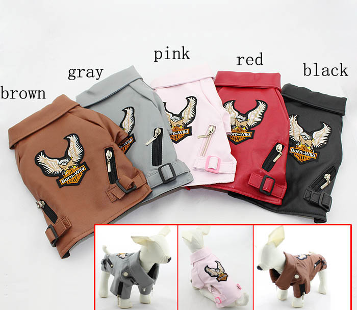 Autumn and winter dog jacket cotton leather jacket pet winter coat Eagle pattern PU Leather 5 colors