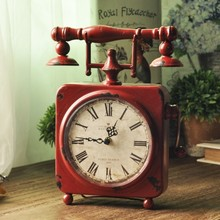 Table Clock Creative Seat Clock Iron Art Retro Ornament American Home Decoration Ornament Handicraft Nostalgia Square Clock