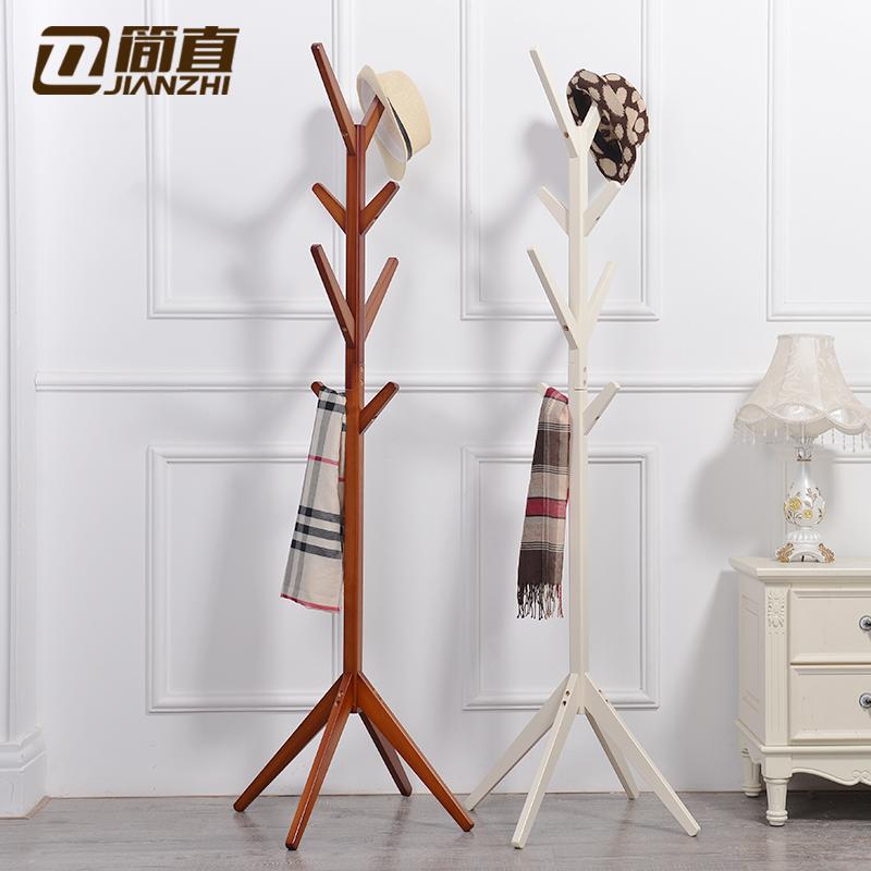 簡直實木衣帽架落地掛衣架臥室衣服架子歐式掛包架簡易立式帽子架