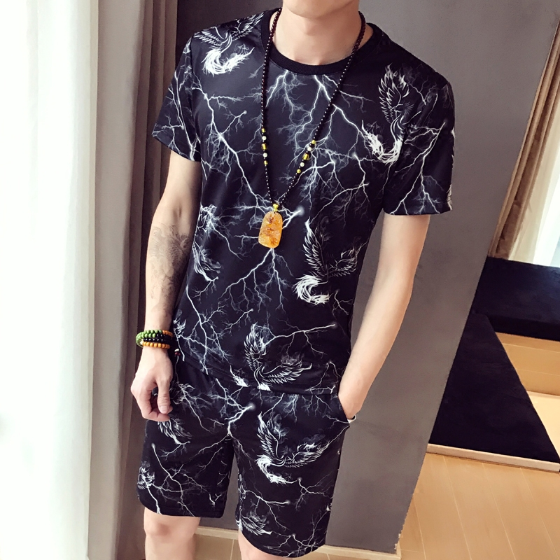 Summer Casual Short Sleeve shorts a set of mens fashion pattern large personalized flower T-shirt fashion thin