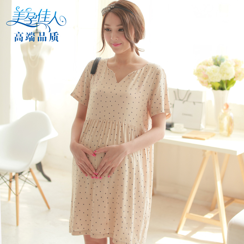 Korean version pregnant womens dress long skirt V-neck short sleeve loose pregnant womens skirt cotton hemp 3652
