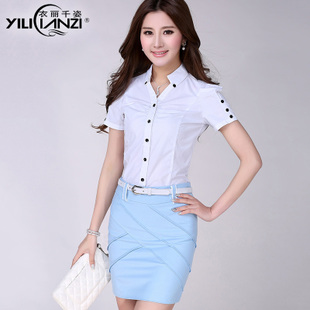 Women wear suits summer short-sleeved shirt new professional package beautician overalls skirt suits Ms.