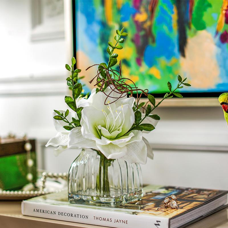 奇居良品 客廳臥室餐桌裝飾絹花假花套裝 整體花藝家飾擺件多款