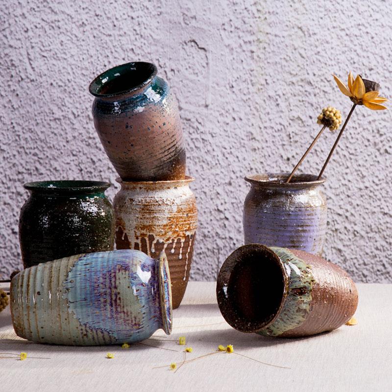 粗陶陶瓷陶罐土陶花瓶客廳電視櫃插花玄關小擺件複古花器
