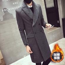 冬季新款长款毛领风衣男士韩版修身外套毛呢大衣A106-1-F113-P155