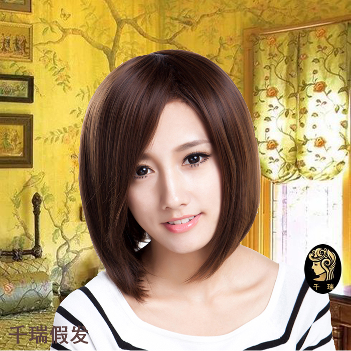 Bobo head short straight hair face dressing wig set realistic wig female short hair slant bangs fluffy Bobo head Korea pear flower