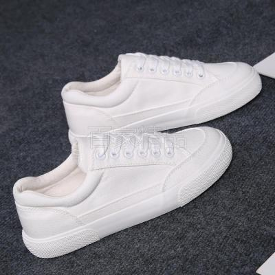 Simple young peoples new canvas shoes, girls little white shoes, girls all white street wear in summer