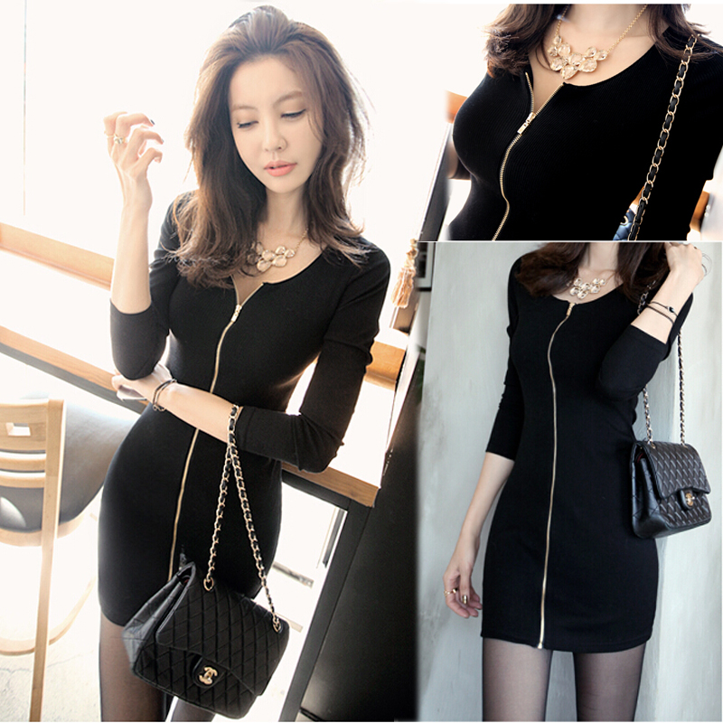 В корейской версии облегающие с длинными рукавами хлопка поток длинный шаг мешок бедра платье конца 2016 года Новая женщина весны юбки