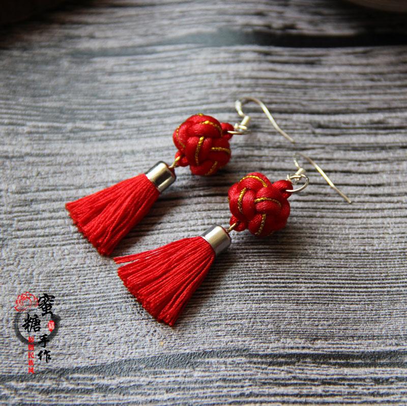 Lantern childrens performance Chinese Knot Earrings bride cheongsam dress hole free ear clip short red Tassel Earrings female