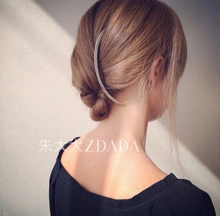 发带韩国头饰气质发夹边夹金色银弧形发梳插梳简约发插一字夹发饰