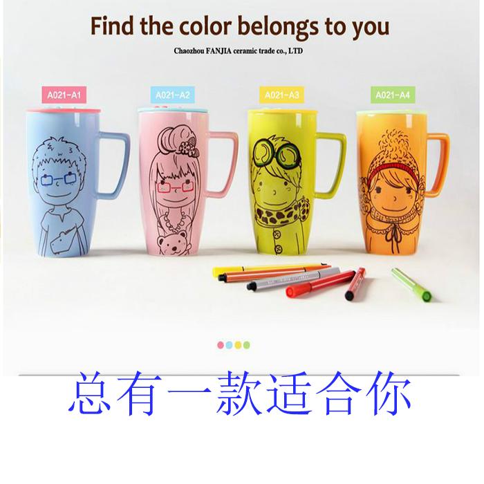 Творческие мужчин и женщин несколько стаканов воды чашки niwawa мультфильм окрашены супер способности керамических кружек