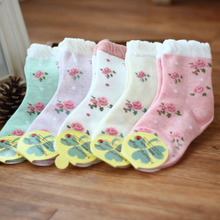 Qiu dong female baby socks child baby 7-8 months 1234 years foreign trade new cotton flower side held on socks