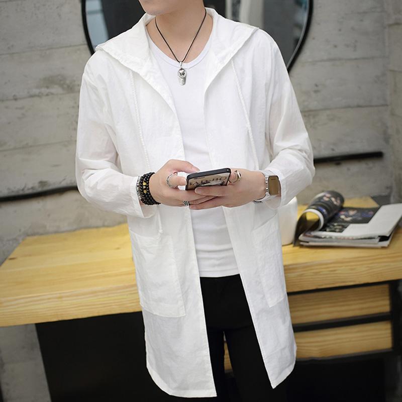 Лето солнцезащитный крем одежда мужской тонкий закрытый длина ветровка пальто корейский подростков любители солнцезащитный одежды одежда волна