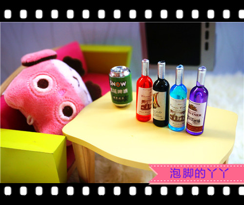 Mini red wine props bjd6 small cloth exo doll got7 hair blowing BTS baby accessories